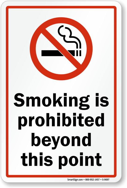 Smoking Is Prohibited Beyond This Point Sign SKU S9697