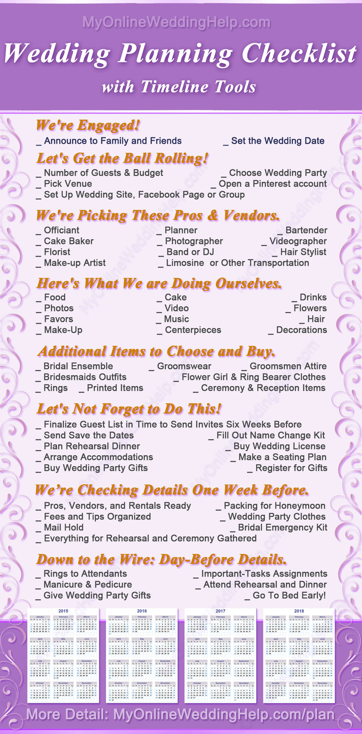 wedding calendar checklist