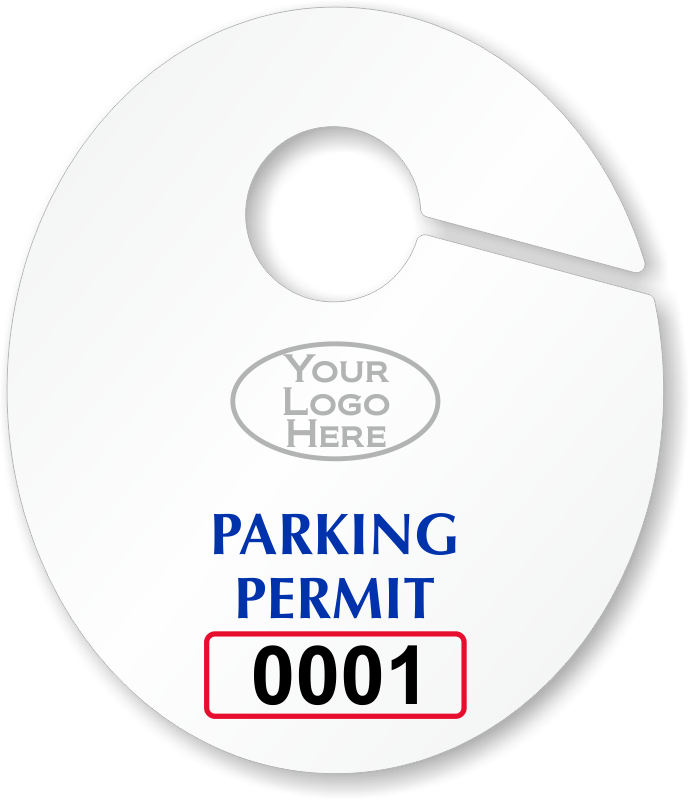 Oval Custom Parking Permit Hang Tags for Rearview Mirror