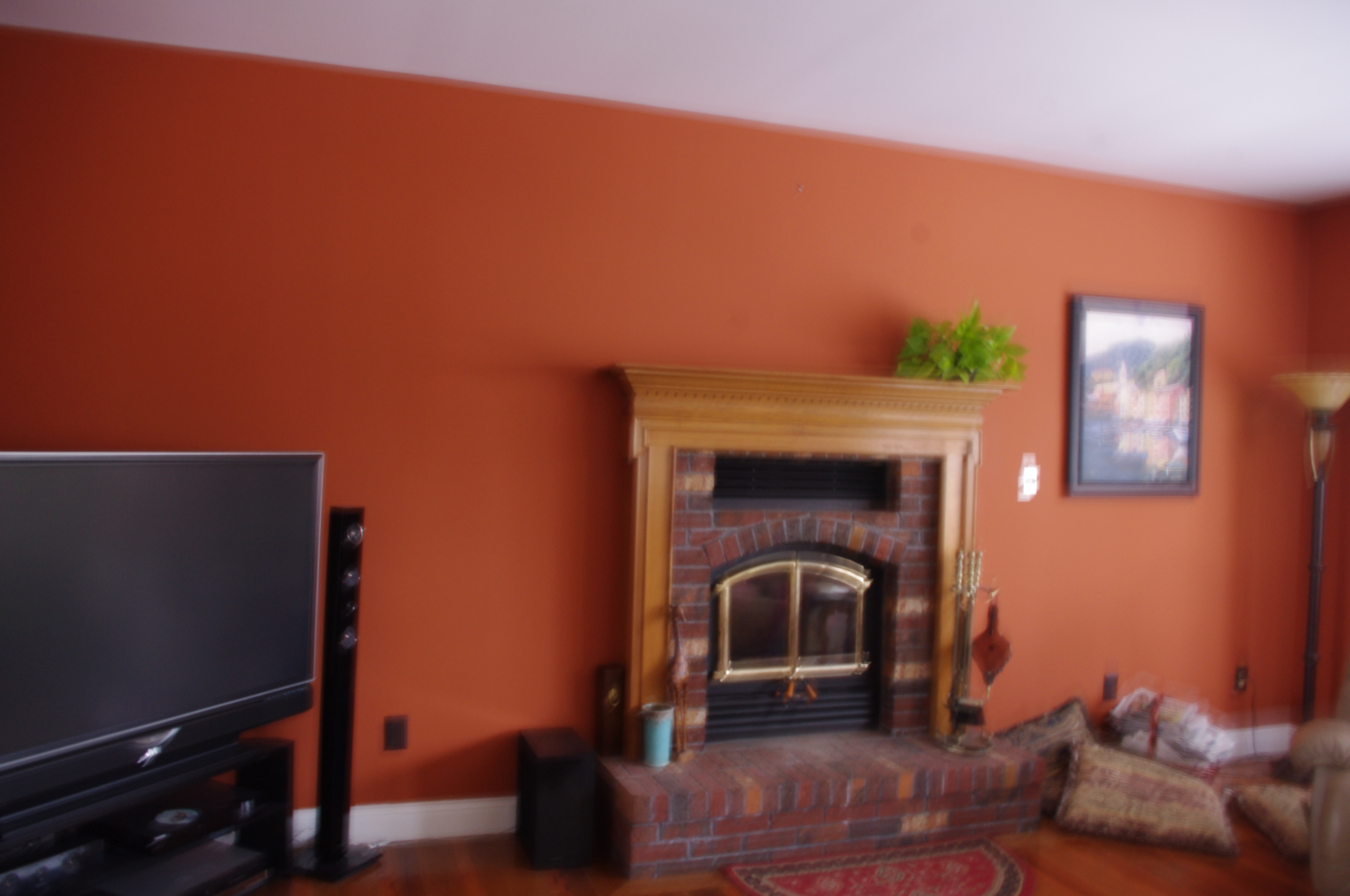 Wall Color Red Brick Fireplace