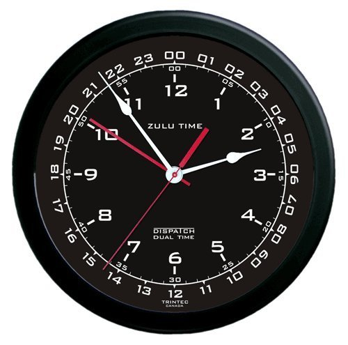 Zulu Time Wall Clock  White on Black  MyPilotStorecom