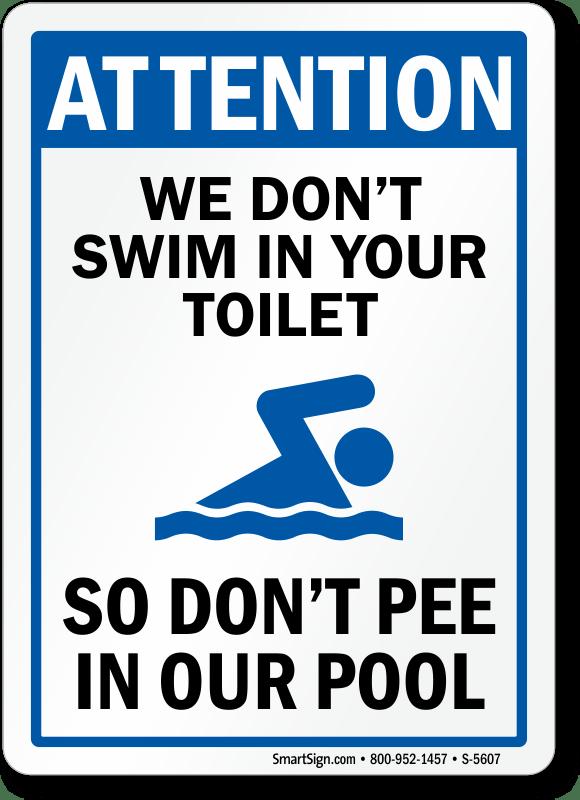 Funny Pool Sign, Don't Pee In Pool, Sku S5607