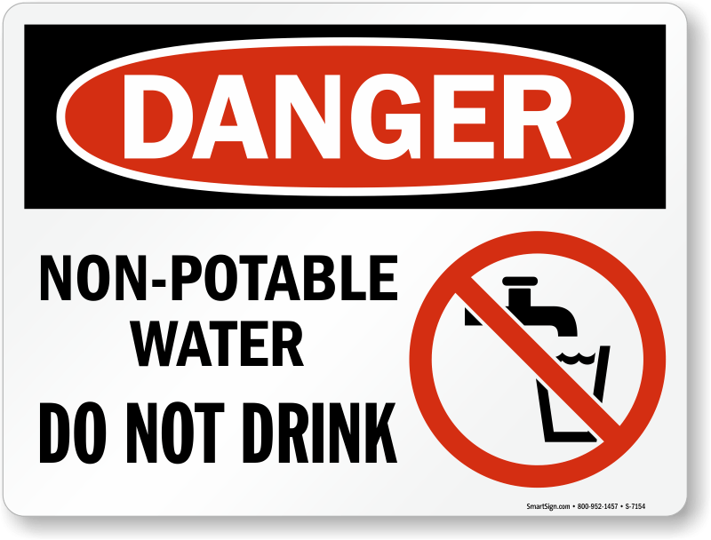 Nonpotable Water Do Not Drink (with Graphic) Sign, Sku S