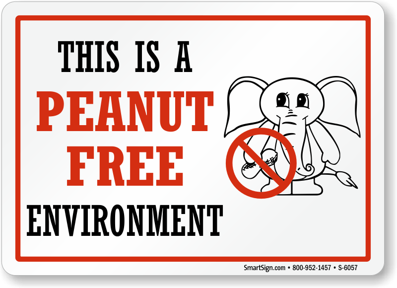Peanut Safety Signs, Food Allergy Safety Signs