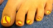 day 210 baseball toes nail art