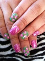 day 135 preppy floral nail art