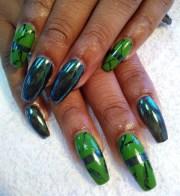 day 107 green marble nail art