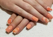 day 140 orange flower nail art