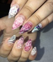 day 234 embedded flower nail art