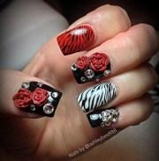day 212 zebra bling nail art