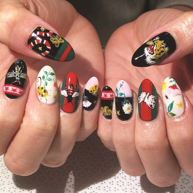 Vanity Projects Nail Artists Often Look At Fashion Trends To Influence Their Manicures Like In This Gucci Print Design