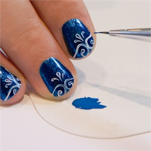 6 Optional Water Down The Blue Acrylic Paint Use A Small Detailer Brush To Add Detail Center Of White Lines Enhancing Design By Giving