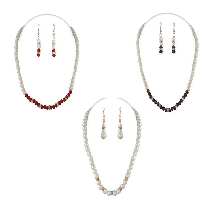 Buy Combo of 3 Variation Pearl Crystal Mala With Earrings