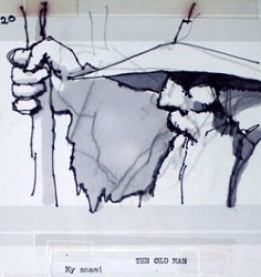 Gandalf on a Lord of the Rings storyboard