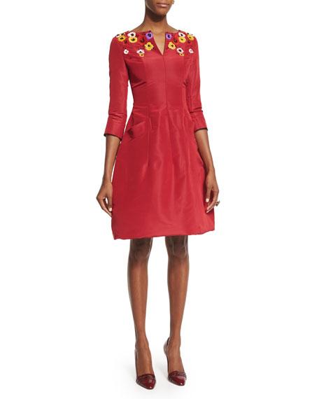 3/4-Sleeve Floral-Embellished Day Dress