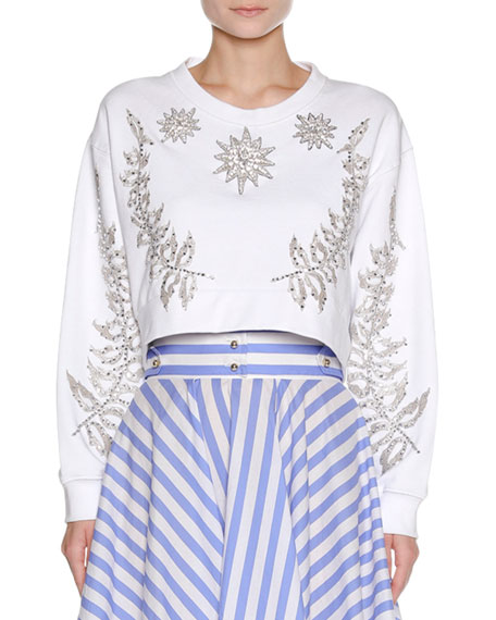 Embellished Star & Floral Cropped Sweatshirt, White