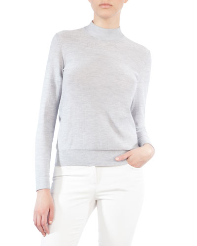 Akris Mock-Neck Cashmere-Blend Sweater
