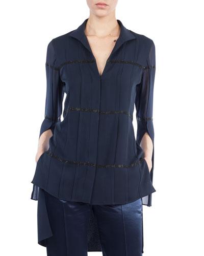 Akris V-Neck Button-Front Silk Crepe Blouse w/ Embellished Stripes