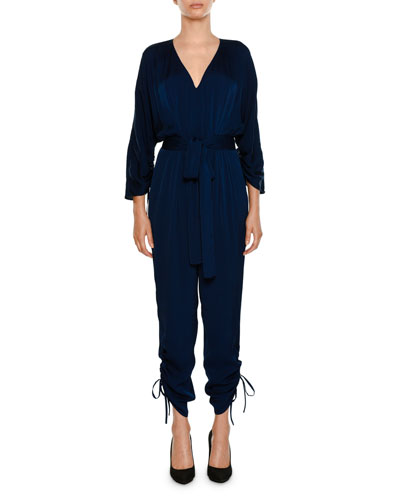 Stella McCartney V-Neck Side-Ties Belted Tapered-Leg Jumpsuit