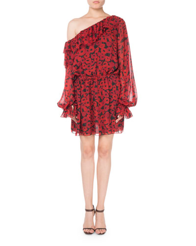 Saint Laurent One-Shoulder Floral-Print Silk Georgette Dress