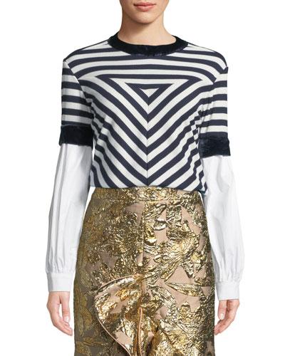 Johanna Ortiz Long-Sleeve Mixed-Media Striped Knit Top