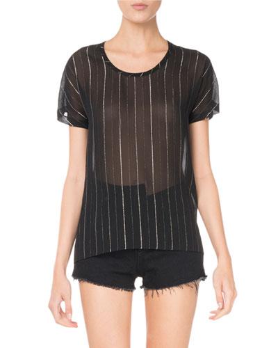 Saint Laurent Round-Neck Metallic-Striped Sheer T-Shirt