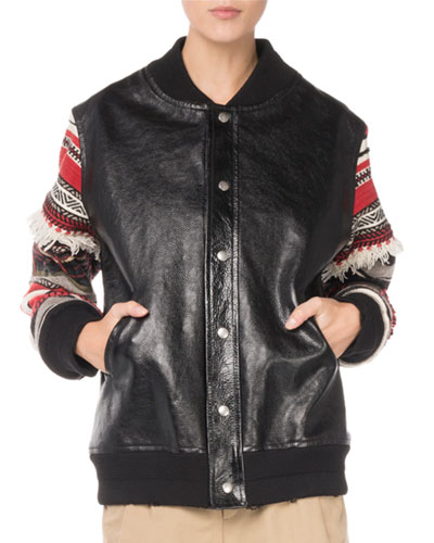 Saint Laurent Snap-Front Oversized Leather Jacket with Embroidered Stripe Sleeves