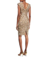 Rachel Gilbert Sequined Cap-Sleeve Cocktail Dress | Neiman ...