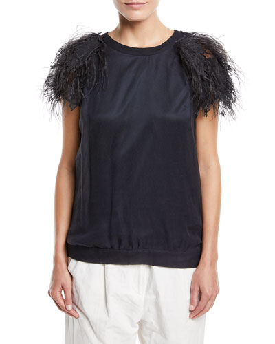 Brunello Cucinelli Crewneck Short-Sleeve Silk Top with Feathers