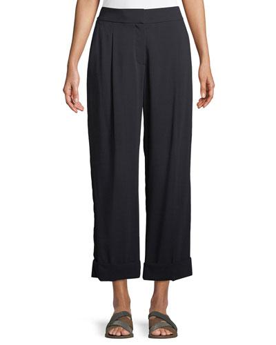 Brunello Cucinelli Wide-Leg Wool Voile Cropped Pants w/ Cuff