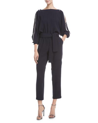 Carolina Ritzler Carole Shoulder-Zip Straight-Leg Jumpsuit