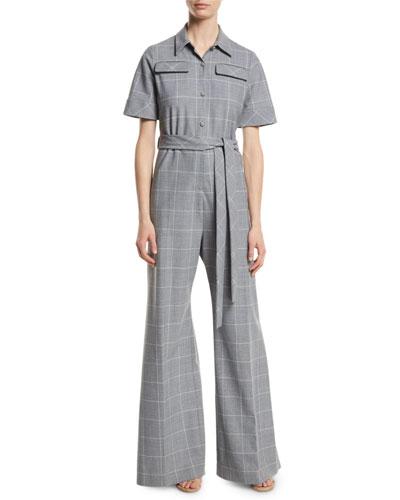 Lela Rose Short-Sleeve Belted Windowpane Check Wide-Leg Wool-Blend Jumpsuit