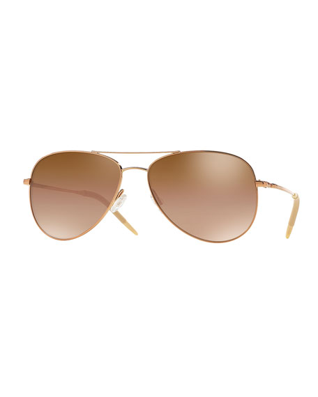 Oliver Peoples Kannon Mirrored Aviator Sunglasses, Rose