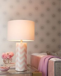 Pink Chevron Lamp