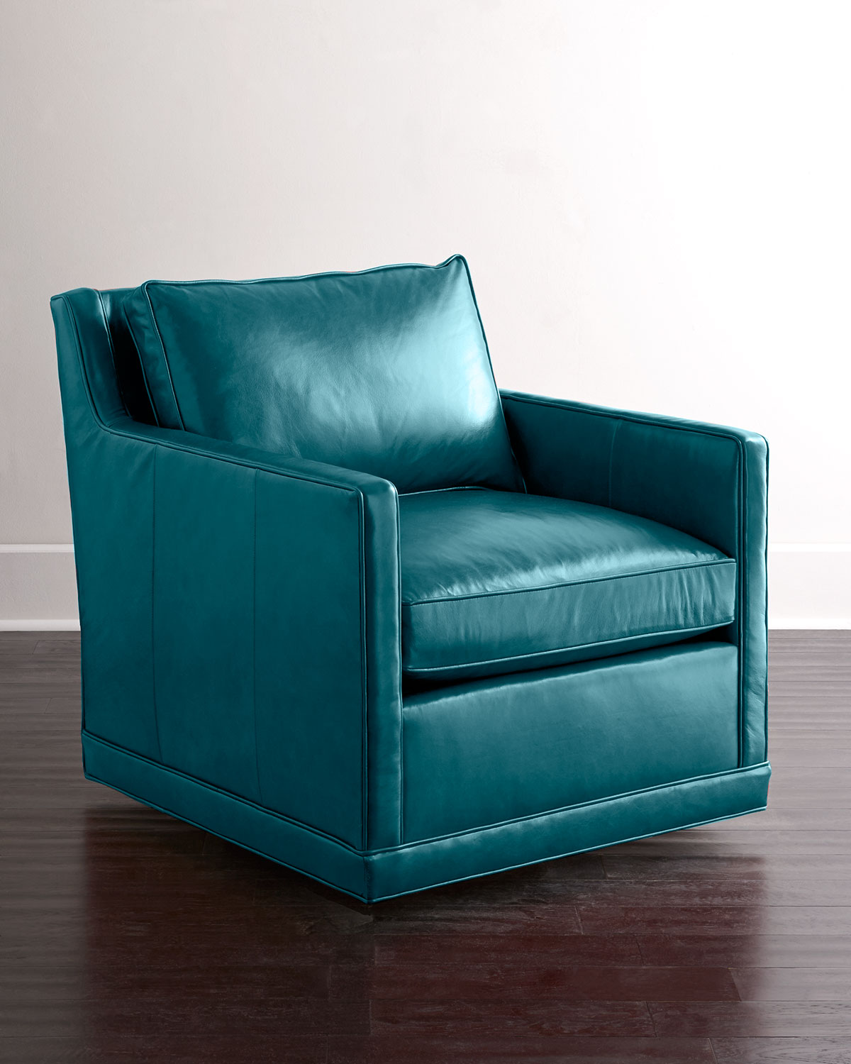 Blue Swivel Chair Nina St Clair Peacock Blue Leather Swivel Chair Neiman