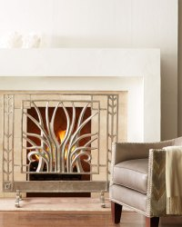 John-Richard Collection Stylized Nickel Fireplace Screen