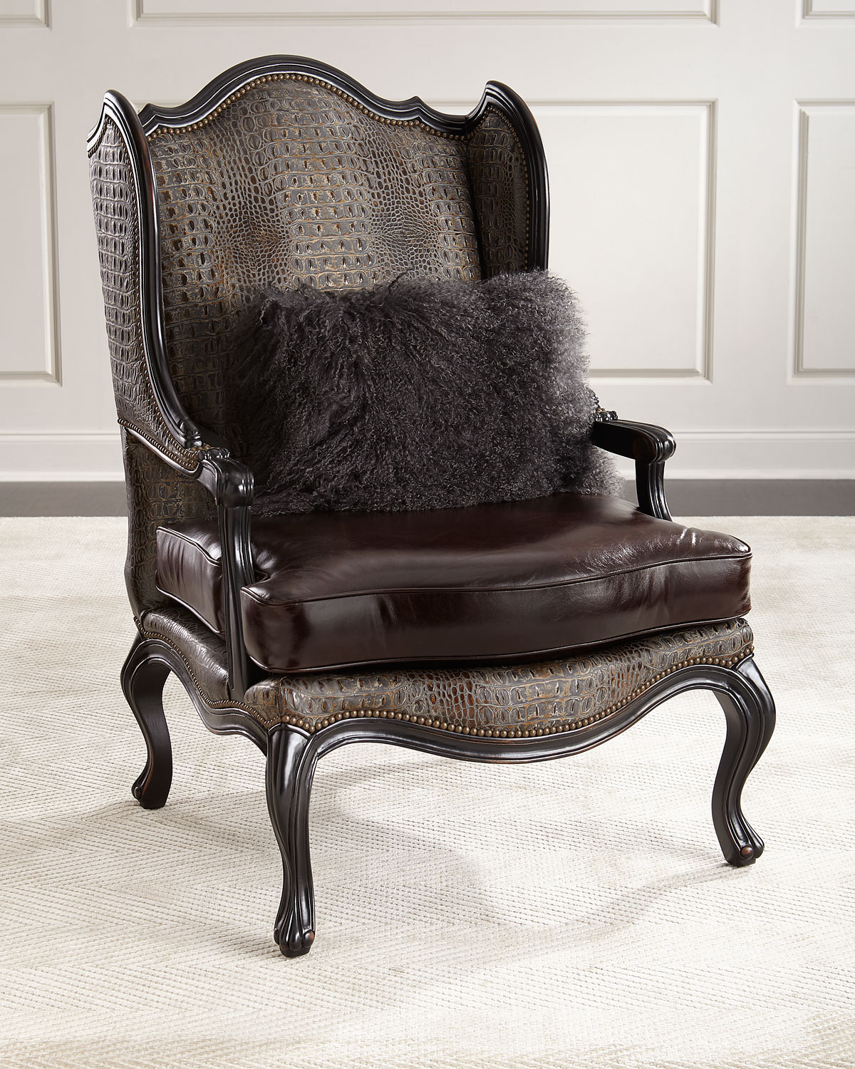 leather wingback chairs princess table and chair set massoud sarah neiman marcus massoudsarah