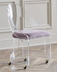 Interlude Home Mabel Brass-Trimmed Acrylic Chair   Neiman ...