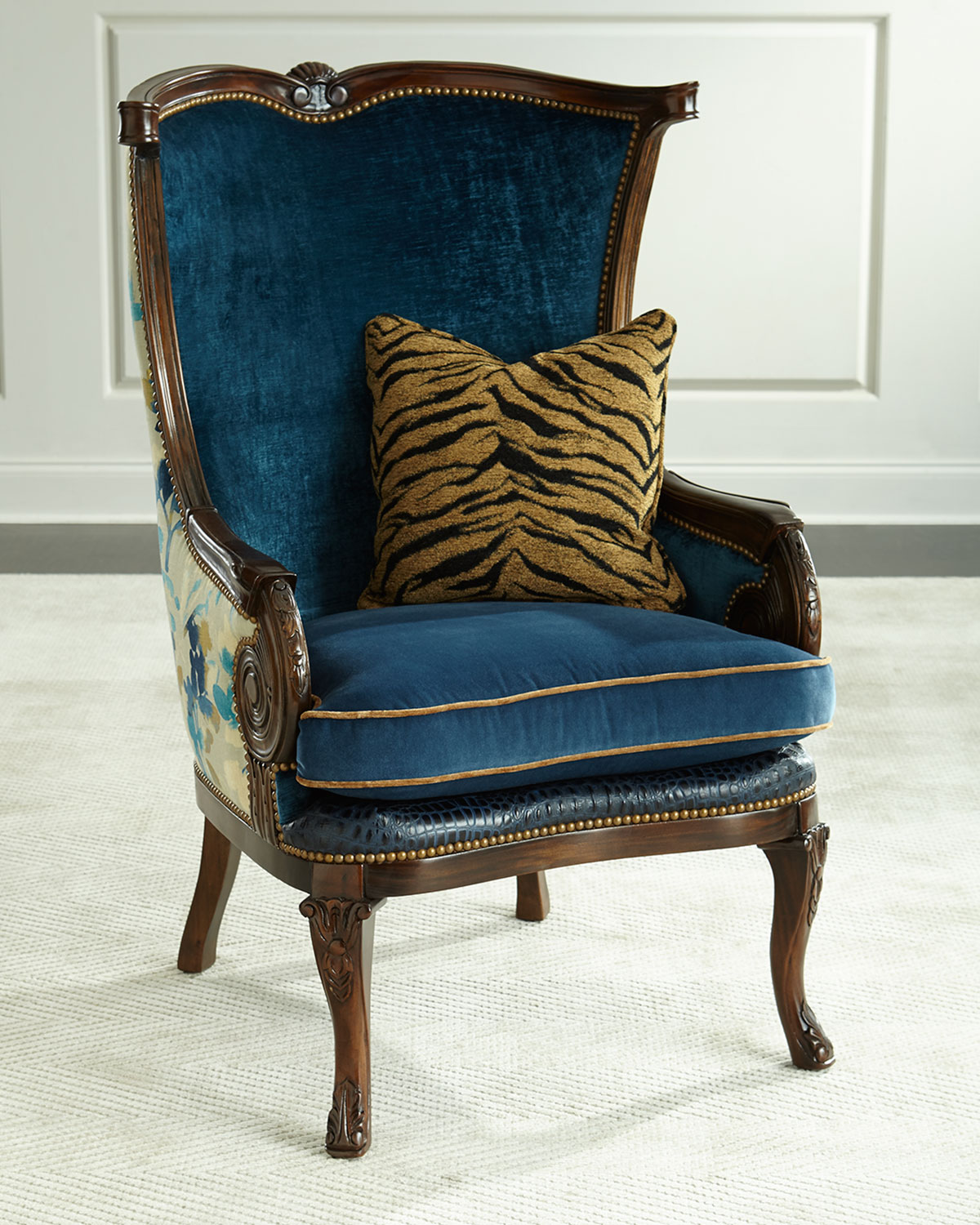 Teal Wingback Chair Gannon Wingback Chair Indigo