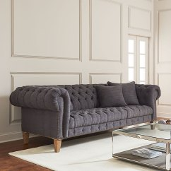 Tribecca Home Knightsbridge Beige Linen Tufted Scroll Arm Chesterfield Sofa Ashley Palmer Leather Living Room Baci