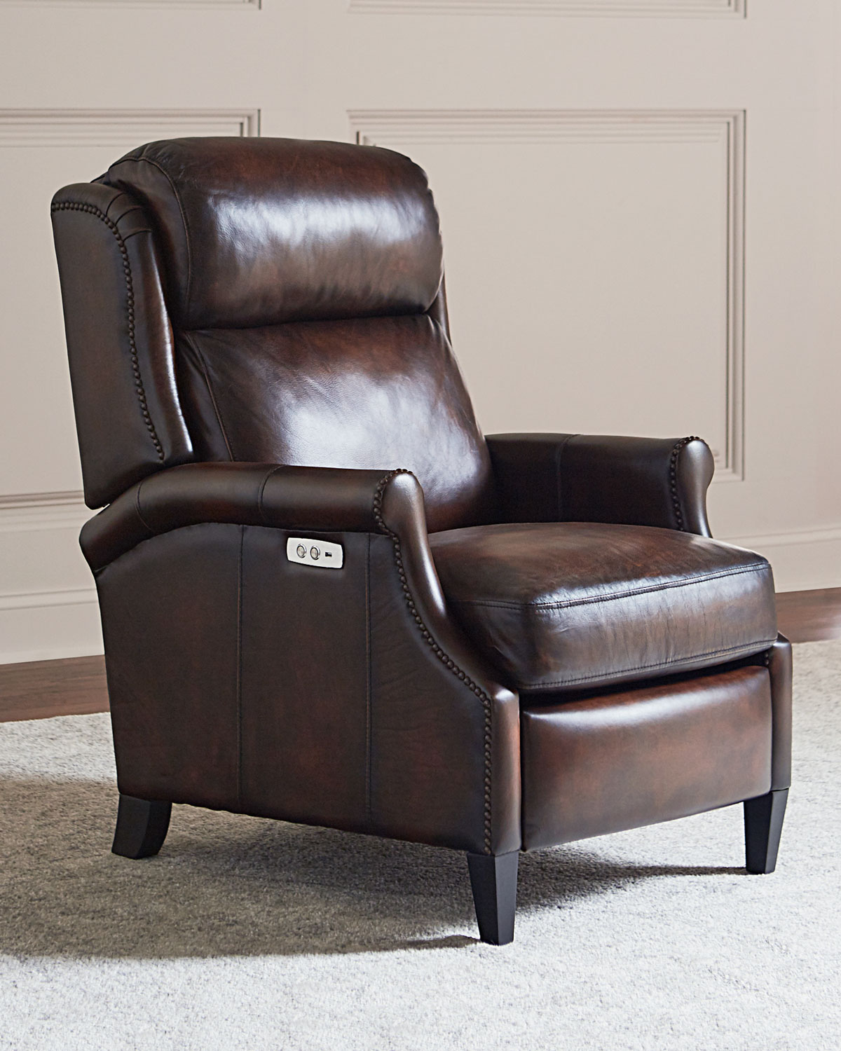 bernhardt brown leather club chair covers on folding chairs robin powered recliner neiman marcus bernhardtrobin