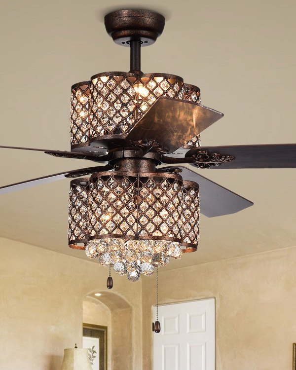 Rustic Bronze Lamped Ceiling Fan With Double-light Kit