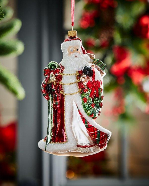 Santa With Wreath Christmas Ornament Neiman Marcus