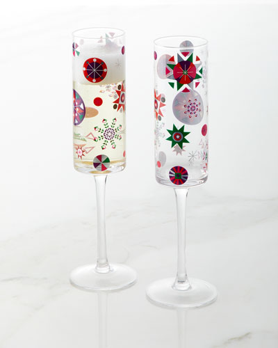Neiman Marcus 2018 Crazy Good Cheer Champagne Flutes, Set of 4