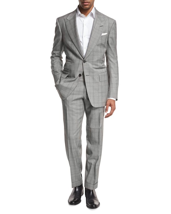 Tom Ford Windsor Base Plaid Two-piece Suit Black White Neiman Marcus