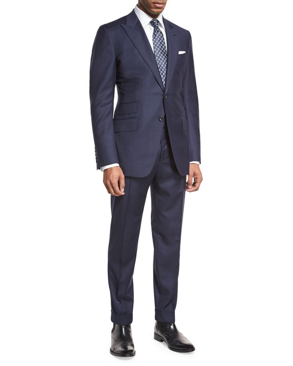 Tom Ford 'connor Base Windowpane Two-piece Suit Navy Gray Neiman Marcus