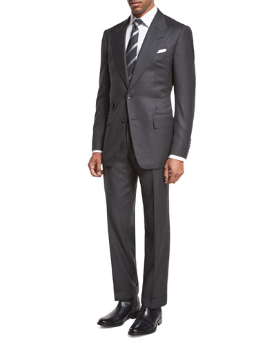 TOM FORD Windsor Base Birdseye Two-Piece Suit, Charcoal