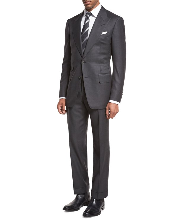 Tom Ford Windsor Base Birdseye Two-piece Suit Charcoal