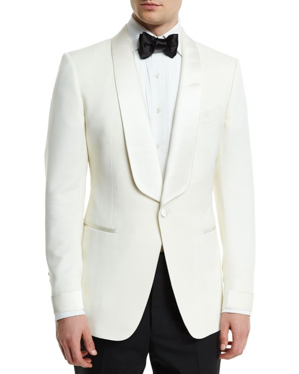 Tom Ford 'connor Base Satin-lapel Wool Jacket Ivory Neiman Marcus