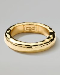 Ippolita Men's 18K Gold Shiny Thick Hammered Ring